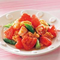 トマトとえびのふわふわ卵