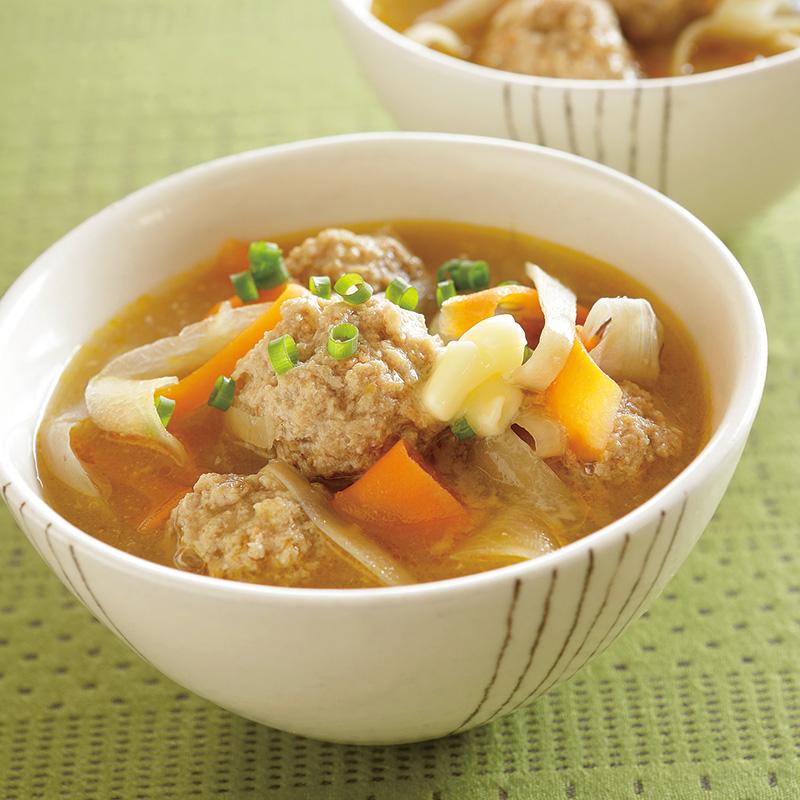 野菜たっぷり肉だんごみそスープ