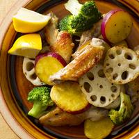 鶏スペアリブと野菜のレモンガーリックソテー