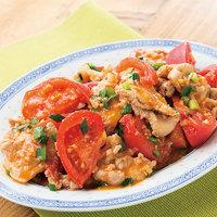 トマトと豚小間のピリ辛炒め
