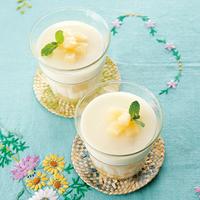 白桃のミルク葛プリン