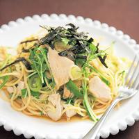 むし鶏とみず菜の和風パスタ