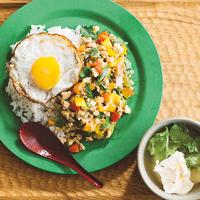 大葉ガパオライス&レタスと豆腐の即席スープ(2人分)