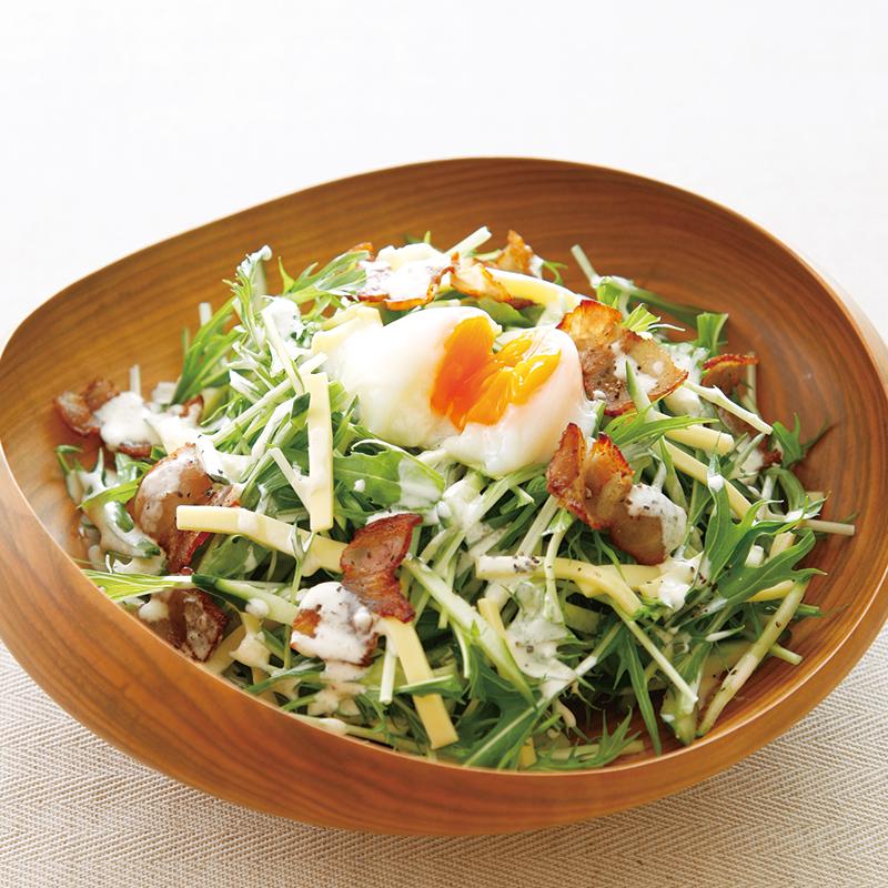 温泉卵のカルボナーラ風サラダ
