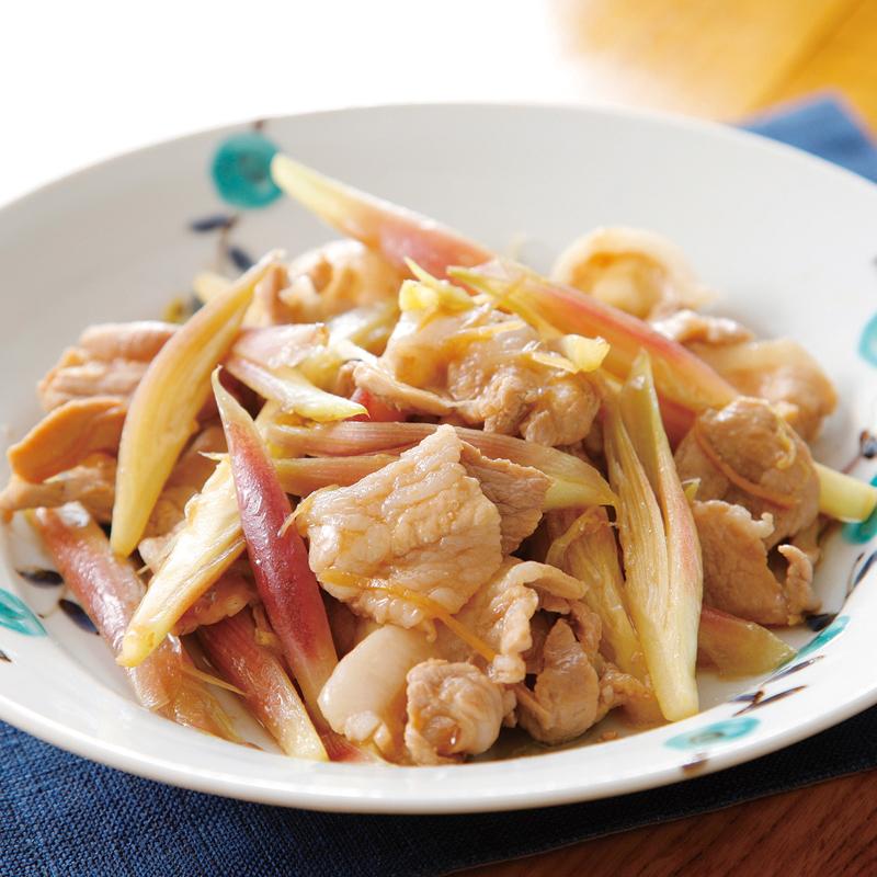 豚バラ肉とみょうがの炒め物