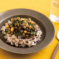 大豆とほうれん草のキーマカレー