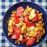 ひき肉とトマトの卵炒め