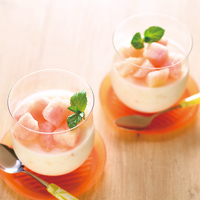 桃のレアチーズケーキ風