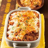 白菜と鶏ひき肉のラザニア風重ね焼き