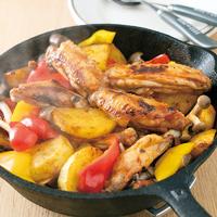 手羽中といろいろ野菜のスキレット焼き