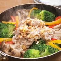 豚肉と野菜の簡単フライパン蒸し 中華香味だれ