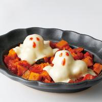 チキンボールおばけとかぼちゃのトマト煮