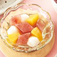 いちごジャム寒天の白玉だんごフルーツポンチ