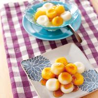 かぼちゃ白玉豆腐だんご(みたらしあん・フルーツポンチ)