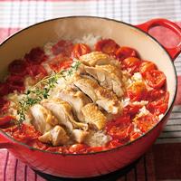 チキンとミニトマトの鍋ピラフ