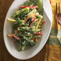 カラーピーマンと小松菜のシーザーサラダ