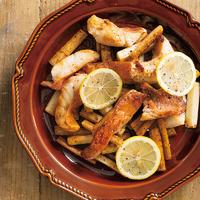 赤魚とごぼうのレモンバターソテー
