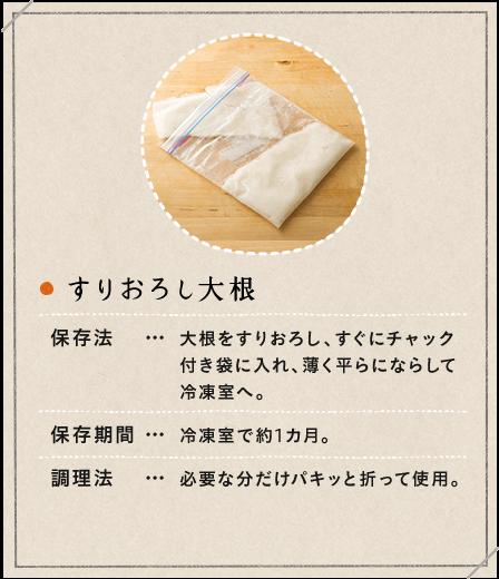 すりおろし大根 保存法:大根をすりおろし、すぐにチャック付き袋に入れ、薄く平らにならして冷凍室へ。保存期間:冷凍室で約1カ月。調理法:必要な分だけパキッと折って使用。
