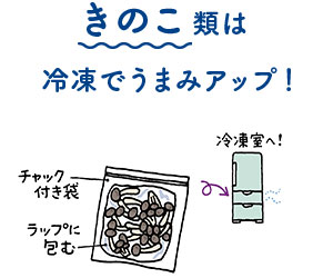 きのこ類は冷凍でうまみアップ!